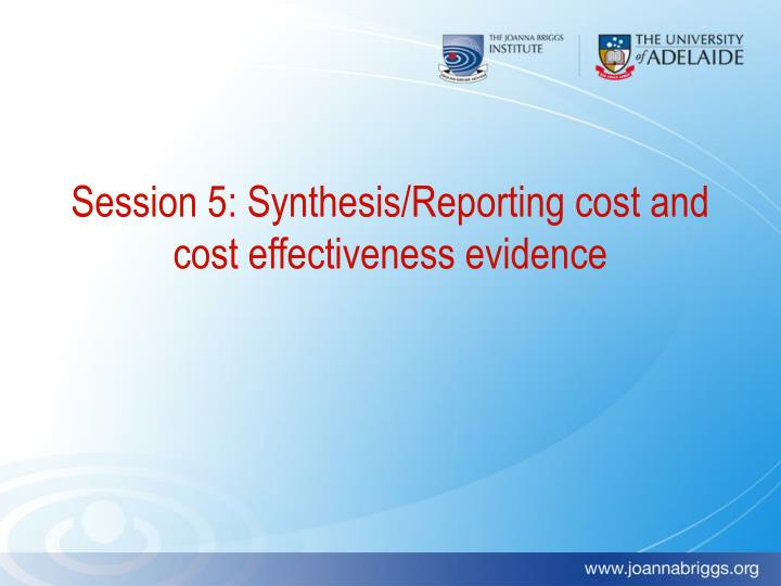 Session 5: Synthesis/Reporting cost and cost effectiveness evidence