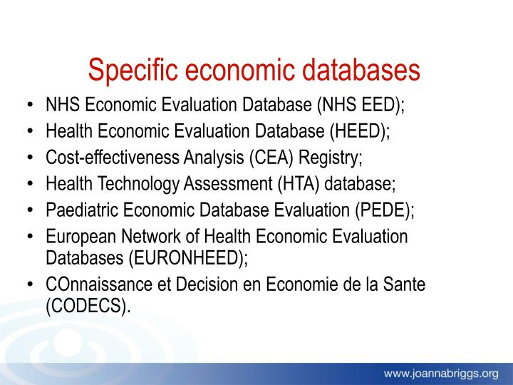 Specific economic databases