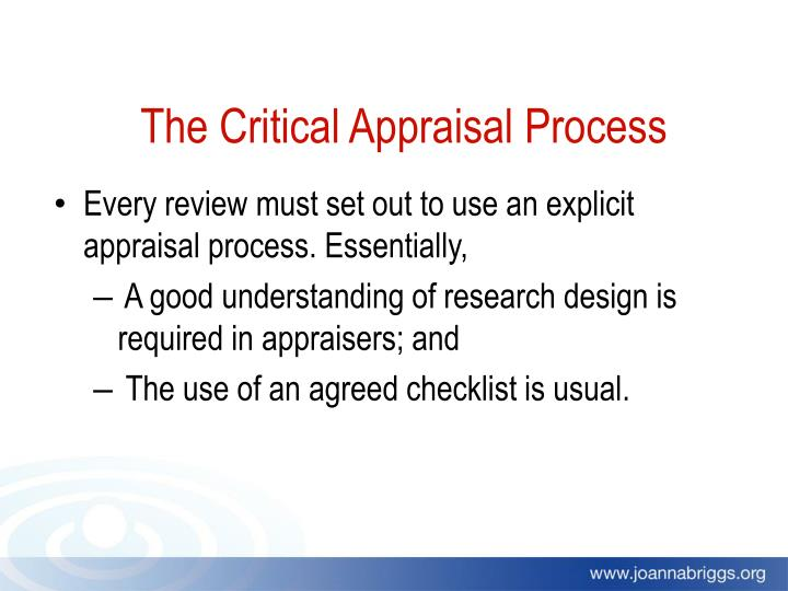 The Critical Appraisal Process