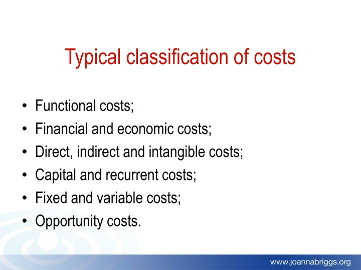 Typical classification of costs