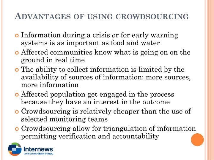 Advantages of using crowdsourcing