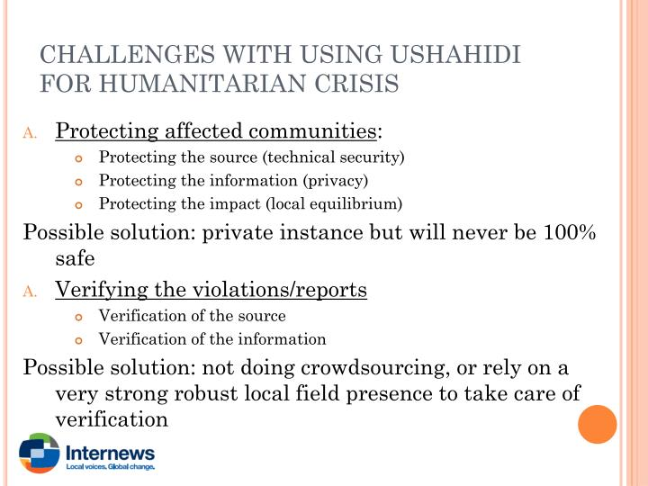 CHALLENGES WITH USING USHAHIDI FOR HUMANITARIAN CRISIS