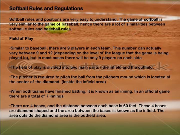 Softball Rules and Regulations