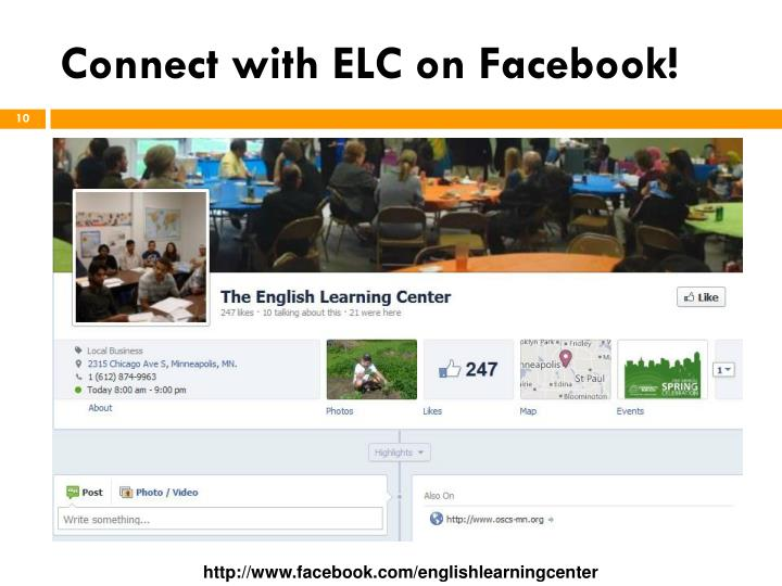Connect with ELC on Facebook!