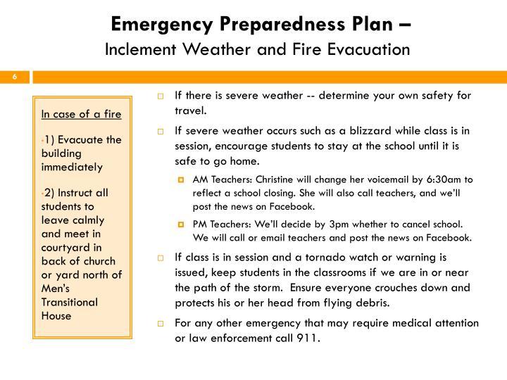 Emergency Preparedness Plan –