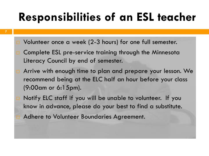 Responsibilities of an ESL teacher