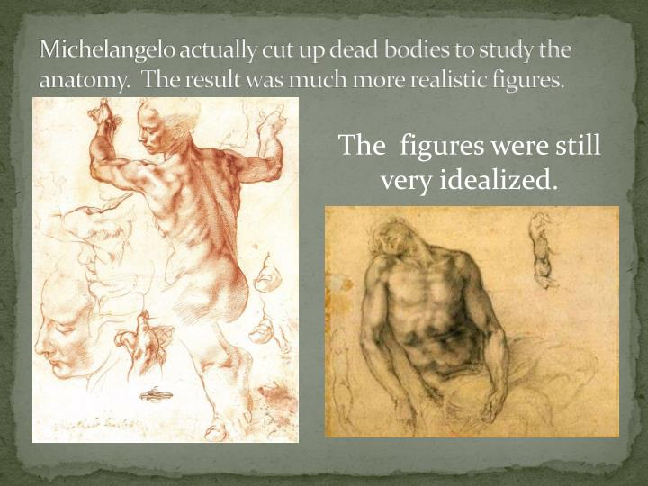 Michelangelo actually cut up dead bodies to study the anatomy.  The result was much more realistic figures.