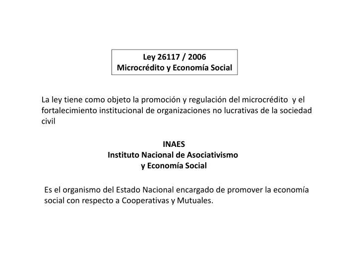 Ley 26117 / 2006
