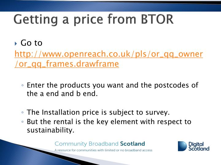 Getting a price from BTOR