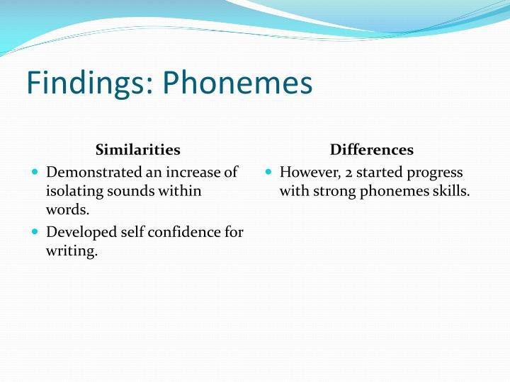 Findings: Phonemes