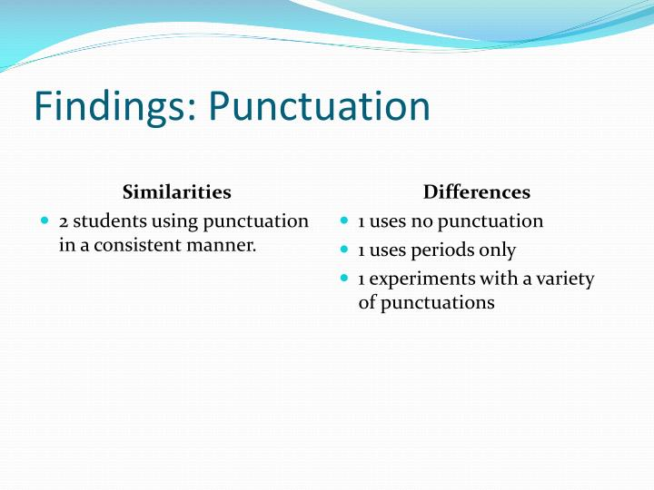 Findings: Punctuation