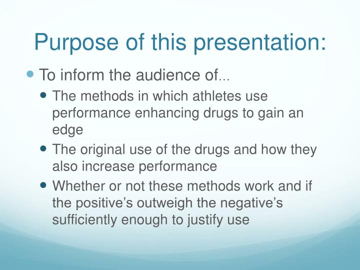 Purpose of this presentation: