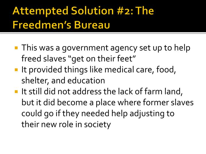 Attempted Solution #2: The Freedmen's Bureau