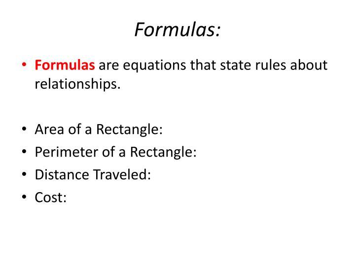 Formulas: