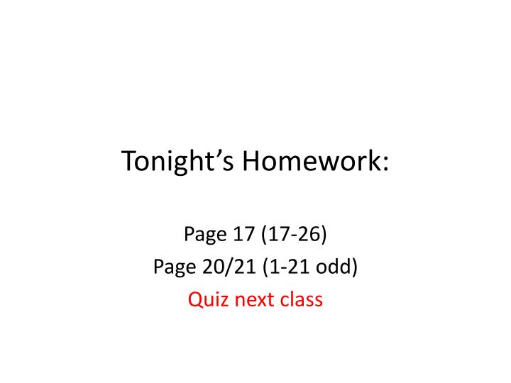 Tonight's Homework: