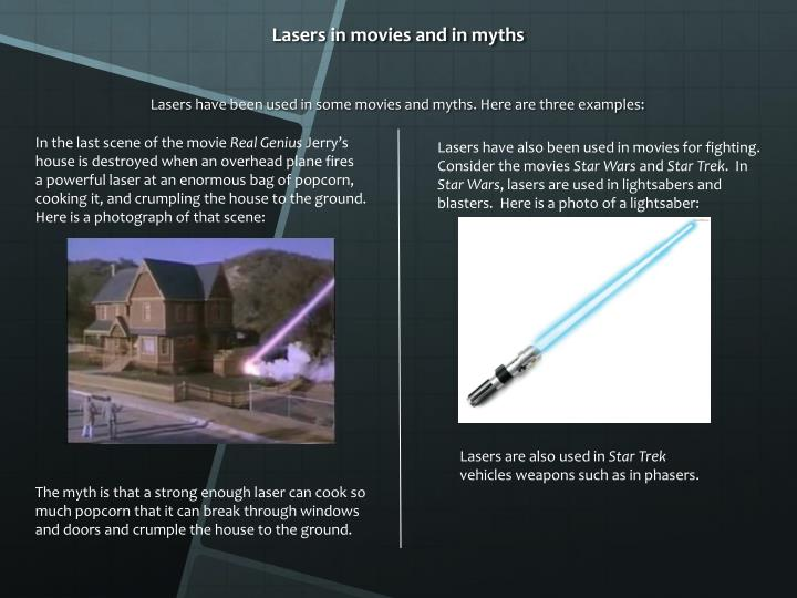 Lasers in movies and in myths