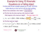 example for using 1d kinematic equations on a falling object