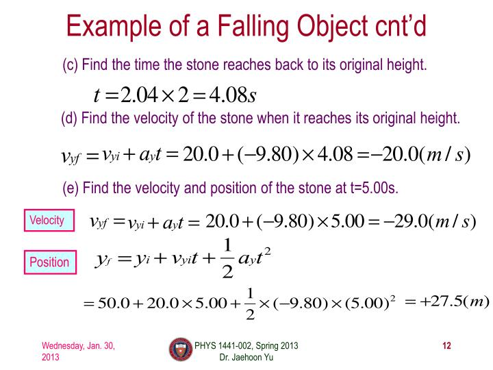 Example of a Falling Object