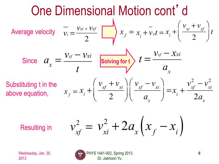 One Dimensional Motion cont