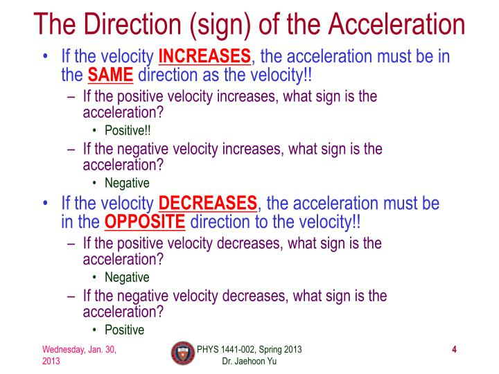 The Direction (sign) of the Acceleration