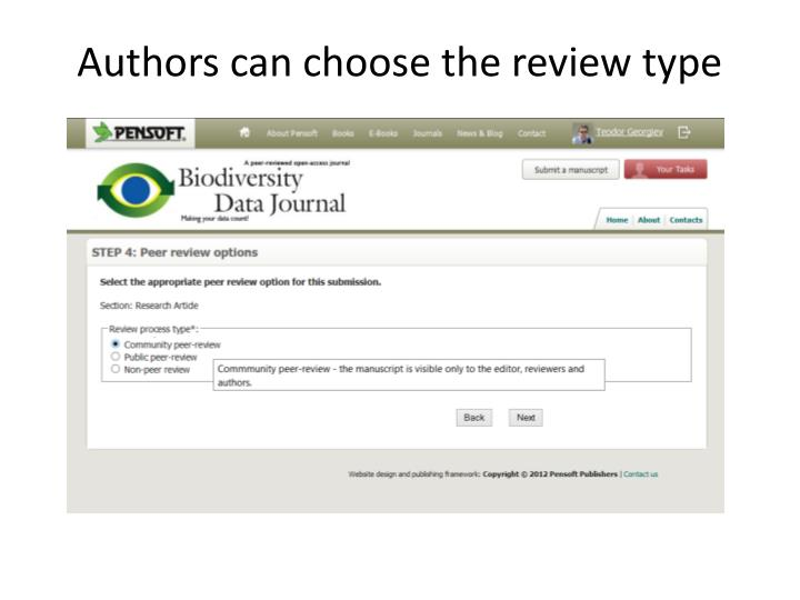 Authors can choose the review type