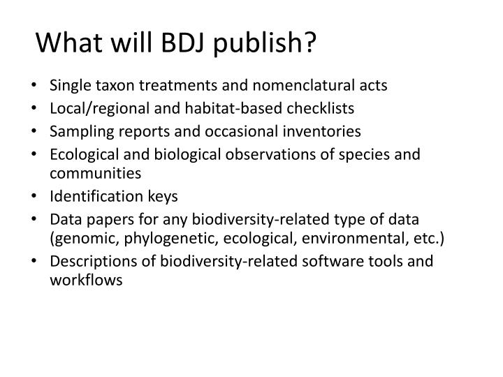 What will BDJ publish?