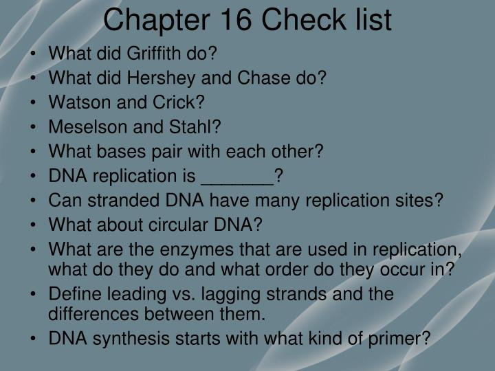 Chapter 16 Check list