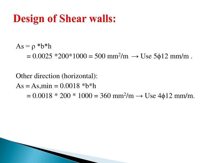 Design of Shear walls: