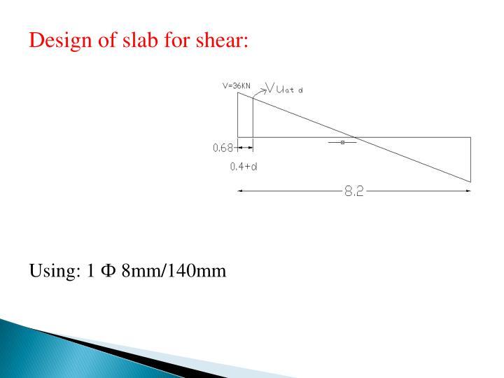 Design of slab for shear: