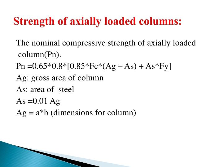 Strength of axially loaded columns: