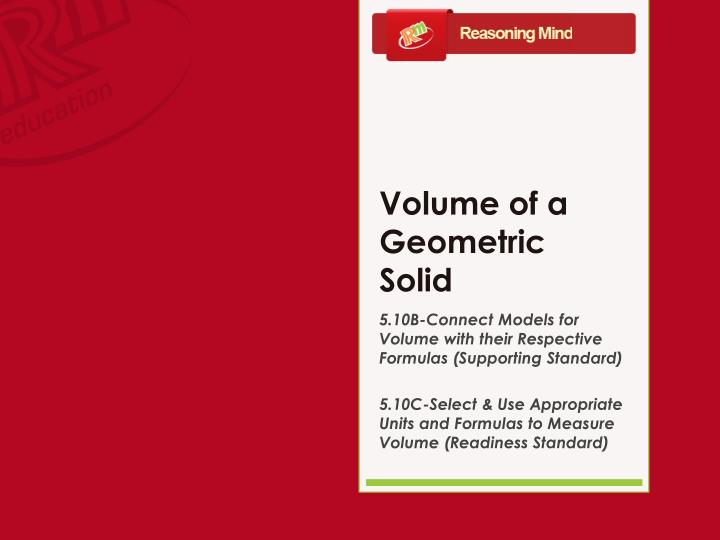 Volume of a geometric solid