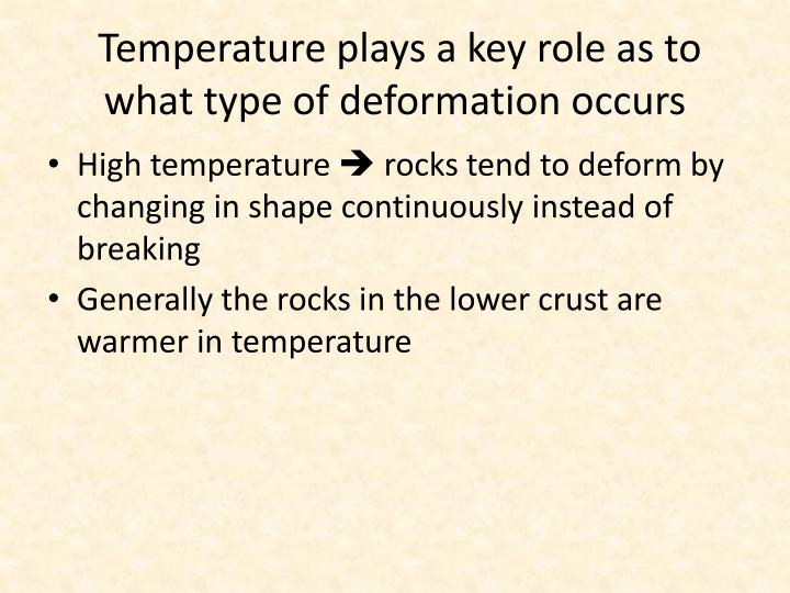 Temperature plays a key role as to what type of deformation occurs