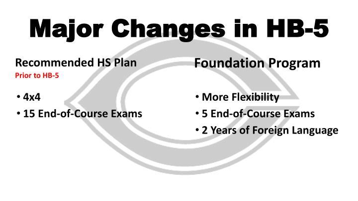 Major Changes in HB-5