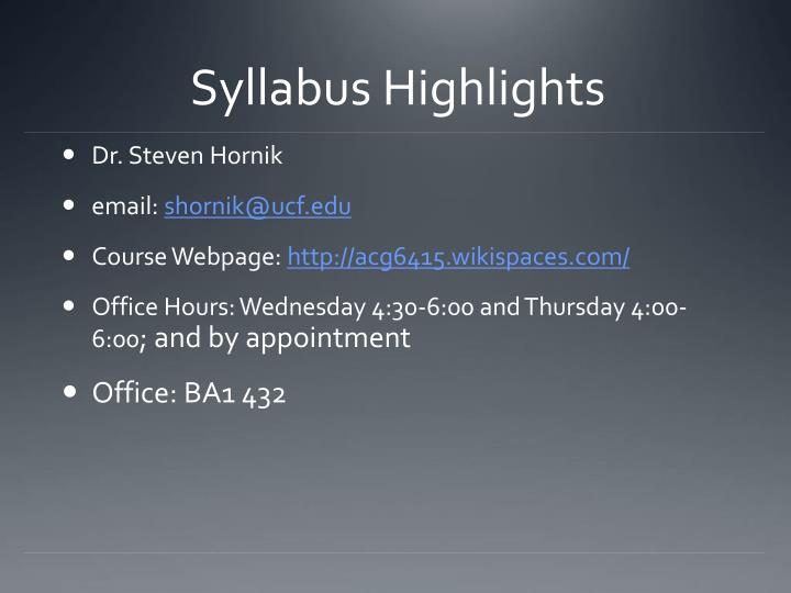 Syllabus Highlights