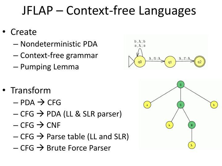 JFLAP – Context-free Languages