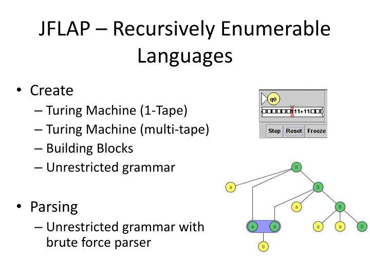 JFLAP – Recursively Enumerable Languages