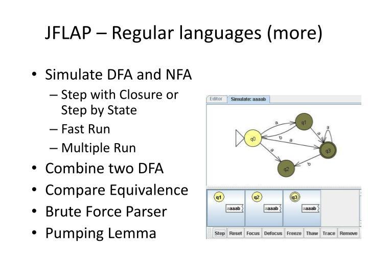 JFLAP – Regular languages (more)
