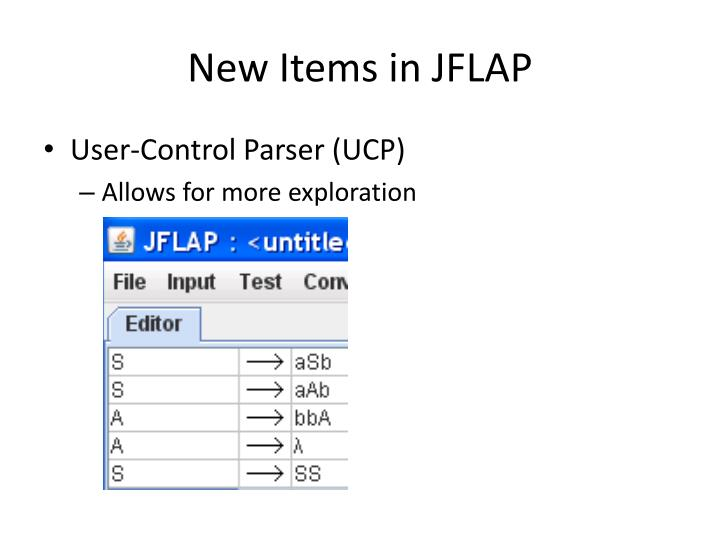 New Items in JFLAP