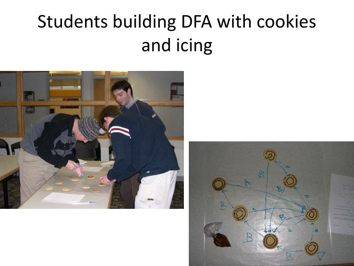 Students building DFA with cookies and icing