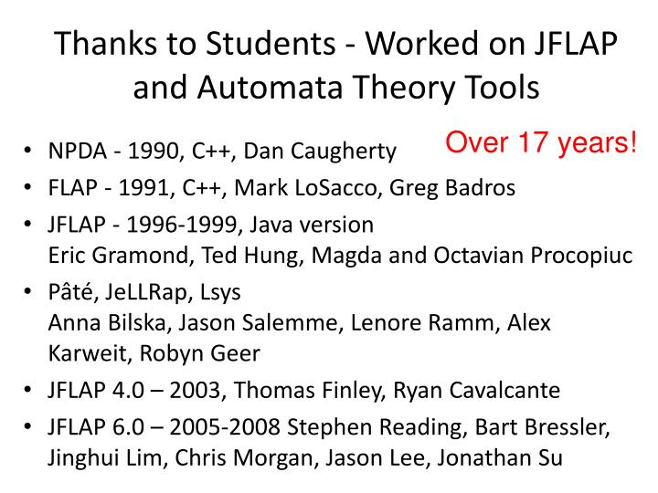 Thanks to Students - Worked on JFLAP and Automata Theory Tools