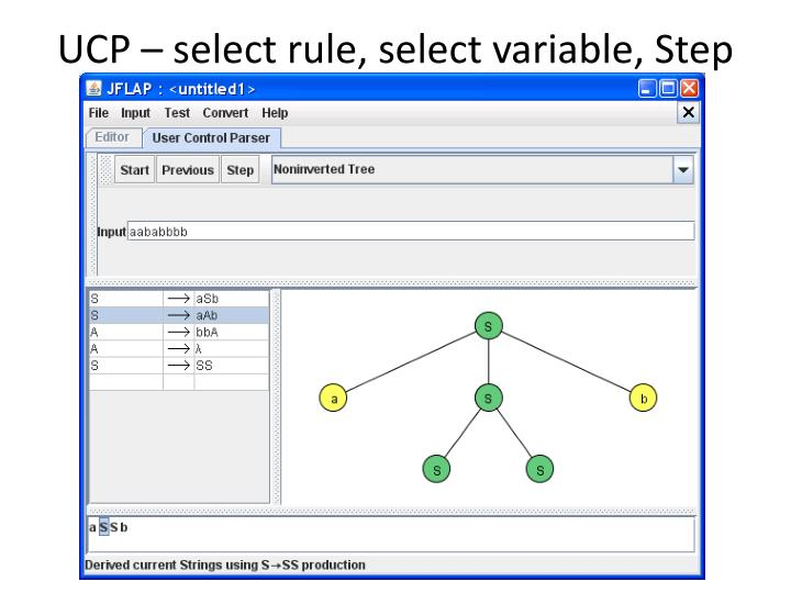 UCP – select rule, select variable, Step