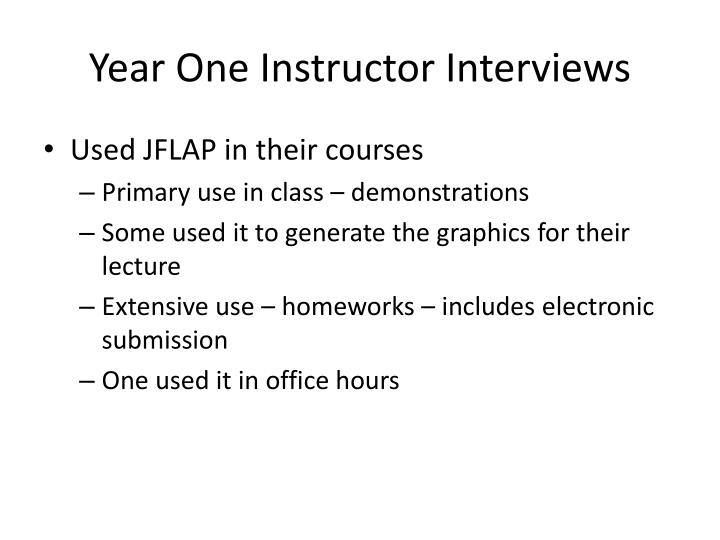 Year One Instructor Interviews