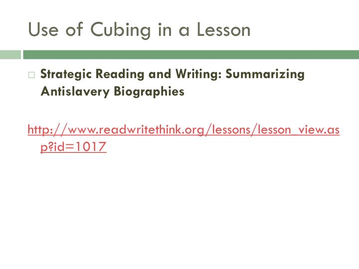 Use of Cubing in a Lesson