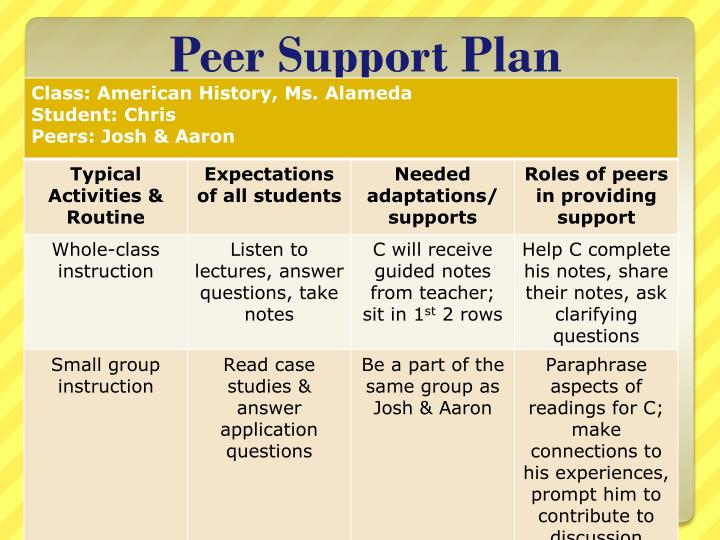 Peer Support Plan