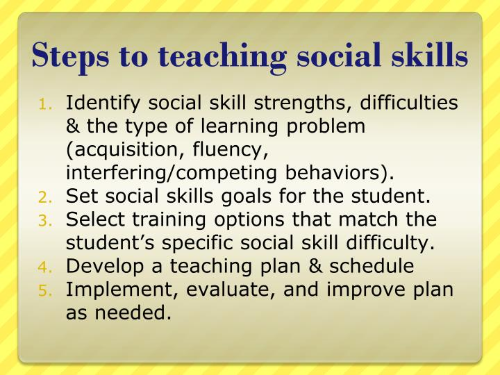 Steps to teaching social skills