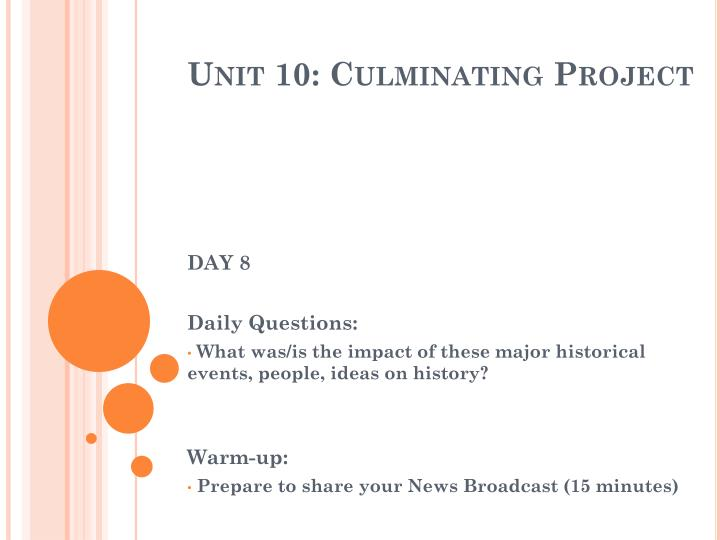 Unit 10: Culminating Project