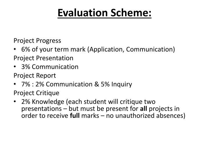 Evaluation Scheme:
