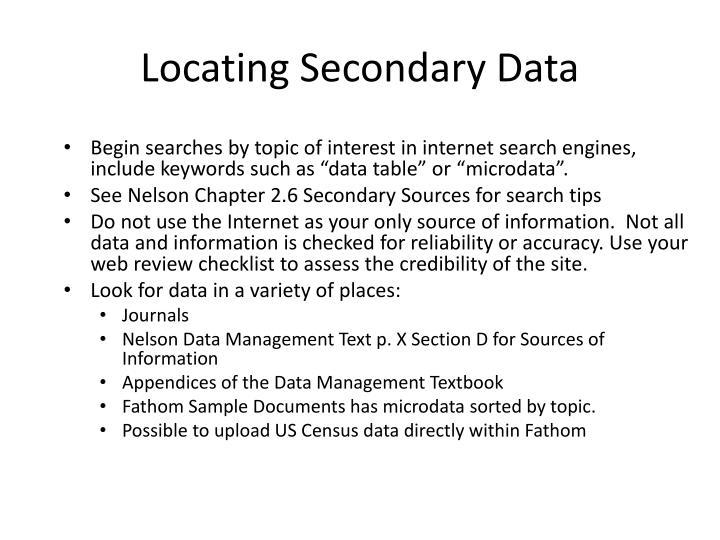 Locating Secondary Data