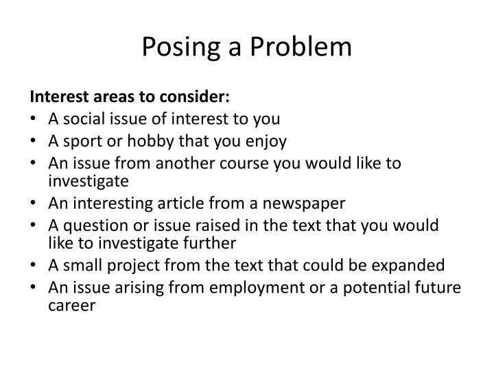 Posing a Problem