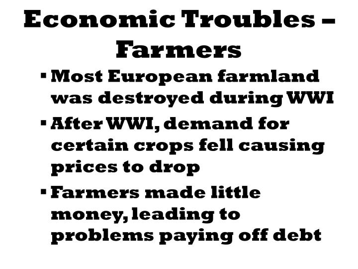 Economic troubles farmers